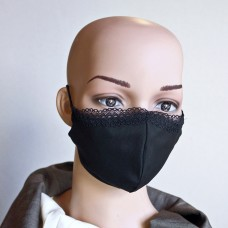 Черна маска за лице от естествена коприна  с дантела 25